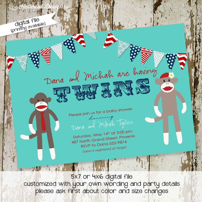 little boy 1st birthday sock monkey co-ed baby shower invitation ...