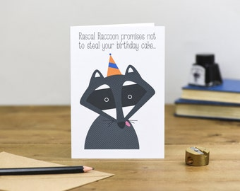 Rascal Raccoon Birthday Card