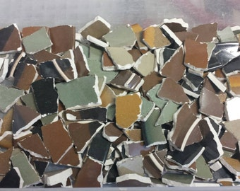 3 lbs of broken mosaic china - mosaic tile - mosaic craft supply - brown mosaic tile - green mosaic tile - neutral colors - stoneware china