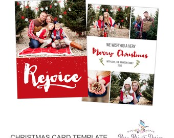 Christmas Card Photoshop Template - Rejoice - 5x7 Photo Card - INSTANT DOWNLOAD or Printable - CC37