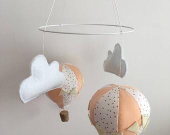 peach hot air balloon nursery mobile