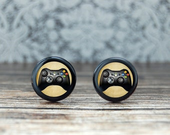 cool gamer gift , nerd gifts for him , geeky gifts for him , wood cufflinks