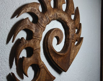 Zerg logo from Starcraft 2/ SC2 . Legacy of the Void symbol. Carved from limewood