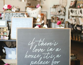 4'X4' If There's Love In a House It's A Palace For Sure Framed Wood Sign