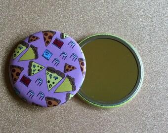 2.25 Inch Hand Mirror, Pizza Party Mirror, Purse Mirror, Pocket Mirror, Compact Mirror, Pizza Mirror, Hand Mirror, Round Mirror