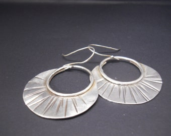 Simple . Sterling Silver . Earrings . Hand Forged . Original Design . One of a Kind . OOAK . Artsy