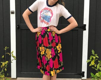 80's 90's Vibrant Floral Pleated Skirt
