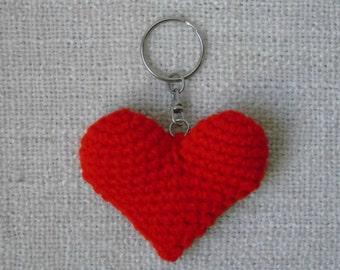 Porte clé coeur rouge au crochet