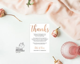 Rose gold thank you card template, Printable thank you cards wedding thank you cards printable thankyou, Editable pdf, Instant download