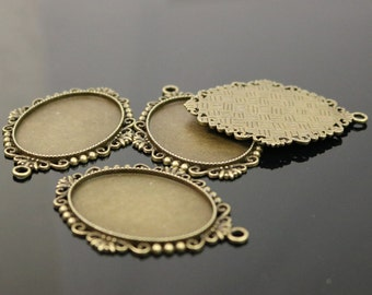 50 pcs Oval Antique Brass Bezel - for 30x40mm - Oval Pendant Blank Bezel for Cabochon Cameo Pendants, Photo Jewelry - T394