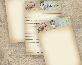 Notepaper 1 Instant Download Digital Printable Roses Scrapbooking Journaling Card Making Stationary Cottage