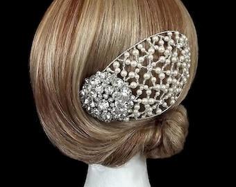 Vintage Juliet Cap Headpiece, Bridal Headpiece, Bridal Cap, Wedding Headpiece, Vintage Rhinestone & Pearl Headpiece, Cap Headpiece, 1940's