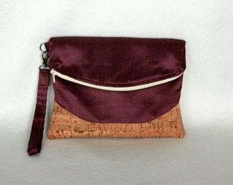 Cork and Silk Foldover Clutch - Heidi Wristlet  in Silk Dupioni with Cork Accent