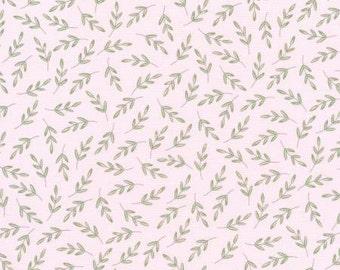 Robert Kaufman Fawns & Friends Pink Leaves Fabric - 1 yard