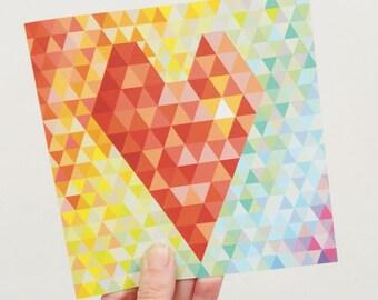 Carte de Saint Valentin coeur géométrique - ombre de l'arc en ciel, blanc, carte d'amour