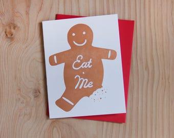 Eat Me, holiday gingerbread letterpress greeting card, set of 6