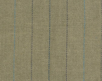 Beige/Blue Linen Twill Stripe Home Decorating Fabric, Fabric By The Yard