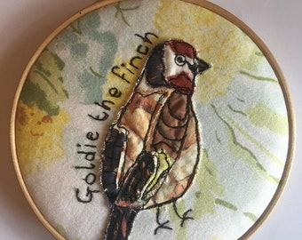 Goldfinch Bird Embroidery Gift | Vintage Fabric Applique | Textile Art Present | For Him Or Her | Birthday | Nature Lover