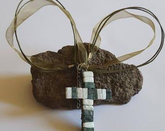 Mosaic necklace cross; mosaic cross; marbre cross; marbre cross mosaic; marbre cross mosaic necklace; cross pendant; cross marbre