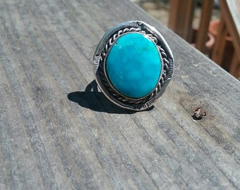 Vintage Navajo Genuine Morenci Turquoise and Sterling Silver Ring Native American Jewelry