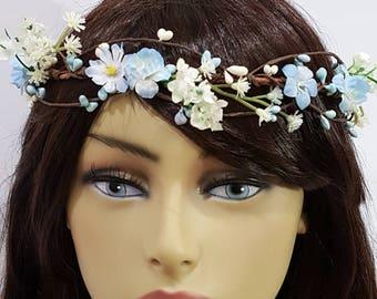 Flower Crown Wedding- Something Blue Wedding Flower Crown- Whimsical Wedding- Blue Flower Crown- Blue Flower Headband Halo Circlet