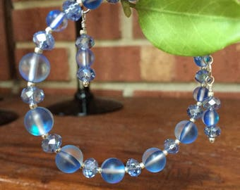 Blue moonstone bracelet. If you love blue then this is for you. Memory wire makes it an easy on, easy off fashion accessory.