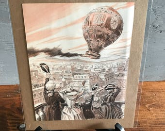 Vintage Print - Hot Air Balloon over City