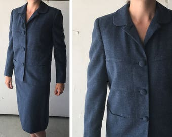 1950's Walda Scott Suit | Women's Vintage Skirt Suit | Vintage Wool Suit | Women's Blue Suit