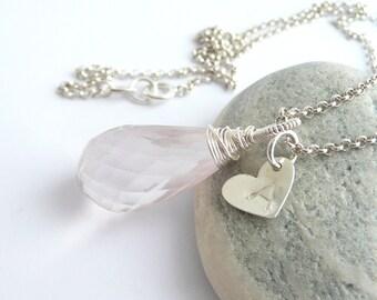 Personalized Rose Quartz Necklace, Silver Initial Necklace, Sterling Silver Necklace, Rose Quartz Pendant Necklace, Sterling Silver Jewelry