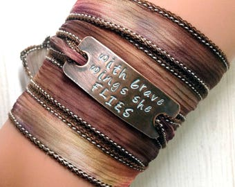 Silk wrap bracelet, handstamped,silk ribbon, #173 with brave wings she flies