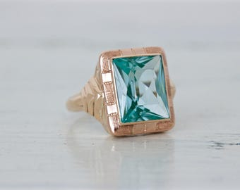 Vibrant Aqua Blue Ring | Geometric Cocktail Ring | Two Tone 10k Yellow Gold Statement Ring | Emerald Cut Gemstone Ring | Size 3 and Sizable