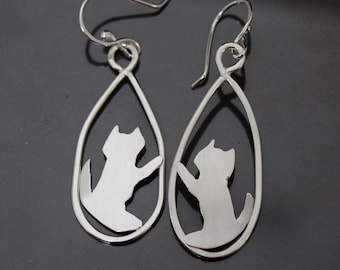 Silver Cat Earrings Cats are Stretching and Climbing in Teardrop Hoops