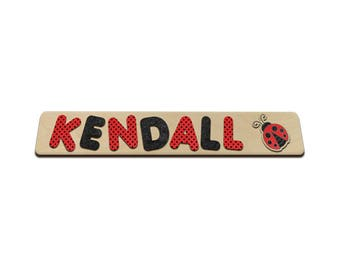 Pretty Ladybug Personalized Wooden Name Puzzles With Red Ladybug & Child's Name ladybug toy, childs toy, wooden gift 520814671