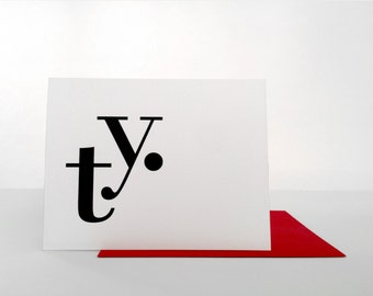 Modern Typography Thank You Card Set of 8 Folded Cards with Envelopes