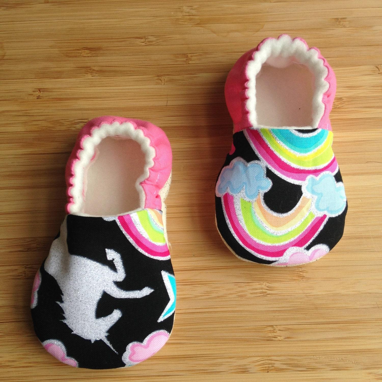 Dear diary tula fabricUnicorn baby shoes Rainbow baby
