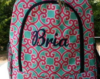 Monogrammed Girls Backpack Pink Mint Floral Girls Embroidered Bookbag Personalized Backpack