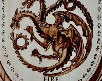 Game of Thrones | Fire and Blood | House Targaryen wall plaque, woodburned