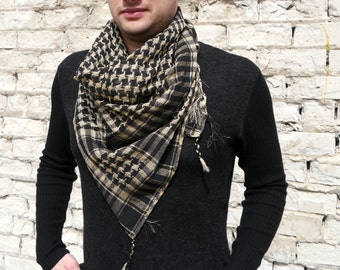 Plaid Men Scarf / Square Womens Scarf / Unisex Scarf / Black and Khaki Scarf
