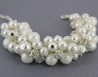 Bridal Bracelet White Pearl Rhinestone Bracelet Cluster Bracelet Chunky Bracelet Bridesmaid Gift for Her Maid of Honor Gift for Bride