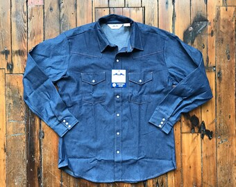 1980's X-Large Deadstock Dakota Denim Pearl Snap Western by Five Brothers