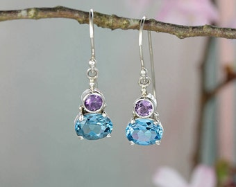 Violet Sterling Silver Blue Topaz & Amethyst Drop Earrings / Gifts for Girls / Natural Stone Jewellery