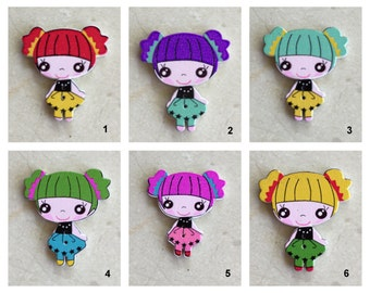 Wooden Pigtail Girl Button - 6 Colorful Choices!