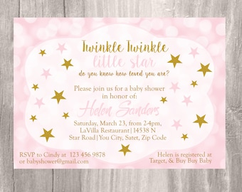Baby Shower Invitation, Twinkle Twinkle Little Star Baby Shower Invite, Pink and Gold Glitter Star Baby Shower Printable Invitation