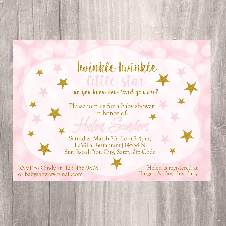 Baby Shower Invitation Twinkle Twinkle Little Star Baby