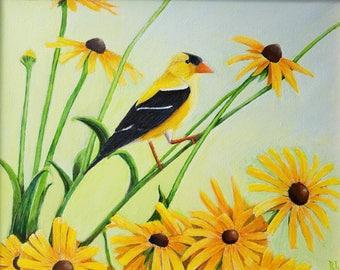 Haiku Graduation Card--American Goldfinch--Original Wildlife Art