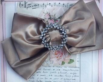 large satin bow brooch or hair accessory. bow bag brooch. bow embellishment. hair bow. handbag bow attachment. flowergirl accessory.