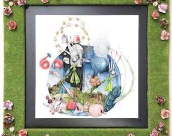Marilyn Manson pop surrealism gothic Dilara Findikoglu fashion illustration Bosch ORIGINAL (framed)