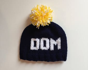 Personalised hand knit hat for children and babies