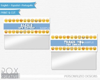 Emoji Birthday Favor Treat Bag Toppers, Emoji Printable Labels, Digital – Customized