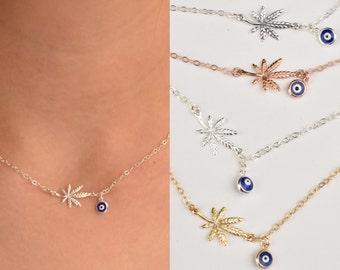 Marihuanablatt und blauen Auge Halskette - Marihuana-blaue Augen - Blatt Halskette-Halskette - Gold-Rose Gold-Silber - oxidiert
